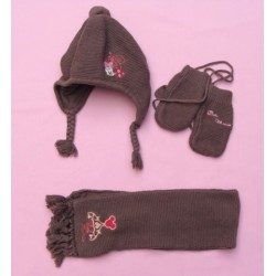Ensemble brun bonnet -moufles-écharpe Minnie - Disney