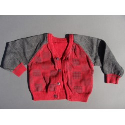 Gilet gris et rouge - 3 mois - Early days