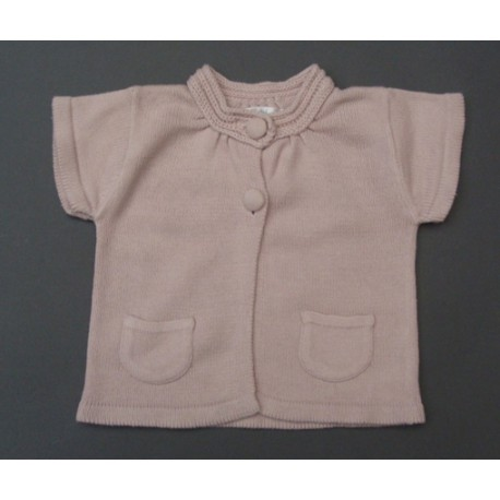 Gilet rose manches courtes